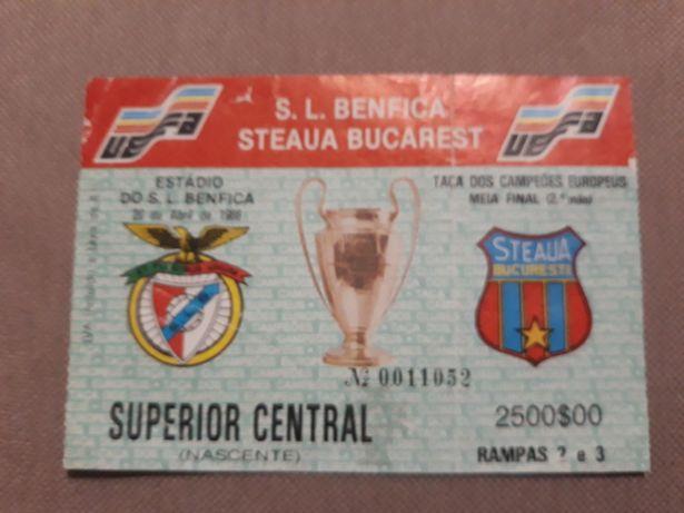 Bilhete SL Benfica vs Steaua Bucarest 1988 - Antiguidade