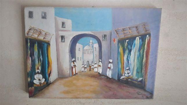 Obraz pejzaż miejski arabskie miasto sygnowany 87r