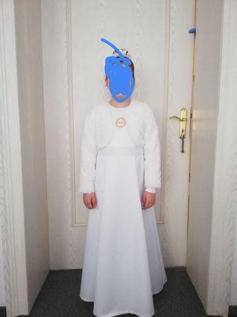 Sukienka/alba komunijna + bolerko rozm. 142/146