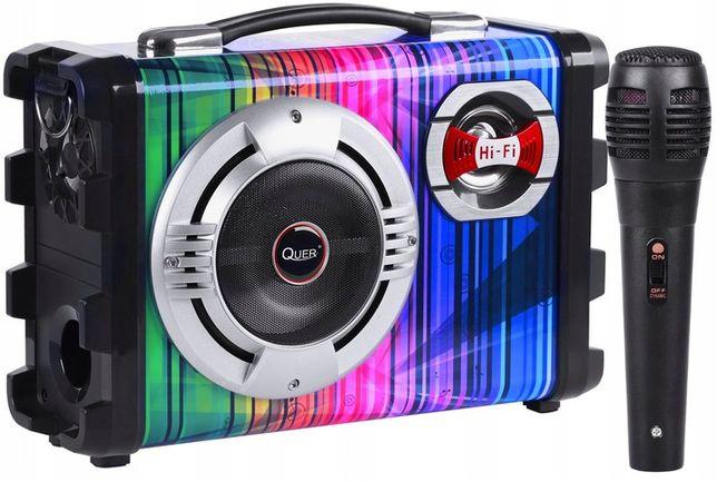 NOWY Przenośny zestaw KARAOKE 7w1 głośnik MP3 SD USB FM