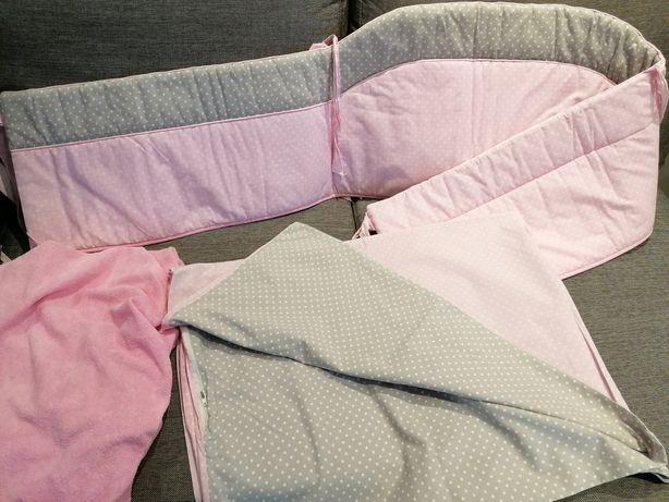 Ochraniacz na łóżeczko + pościel + prześcieradełko