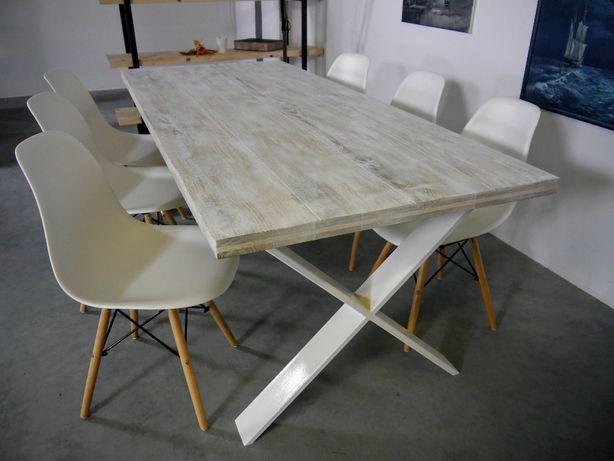 nowoczesny stół loftowy loft industrialny do salonu kuchni dębowy