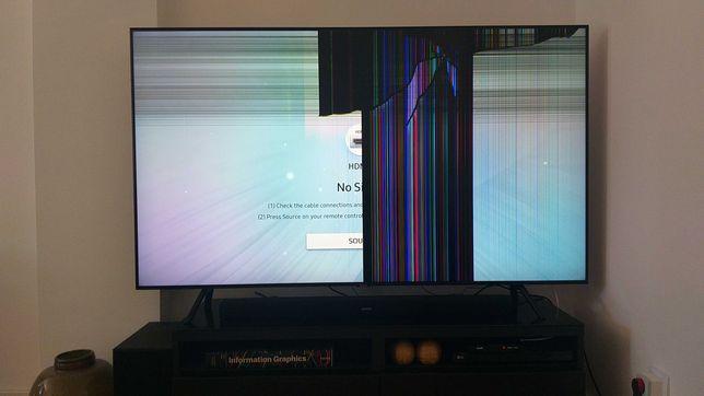 TV Samsung QLED QE65Q70R painel partido