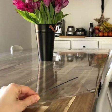 Прозрачная скатерть толстая пленка ПВХ, защита любой поверхности.