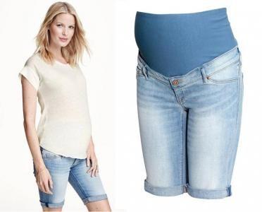 H&M MAMA jeansowe spodenki ciążowe L/40 wygodne szorty ze stretchem
