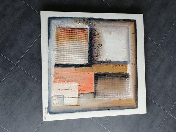 Quadro pintura a óleo com relevos abstrato