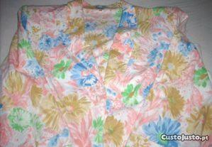 Blazer vintage em algodão estampado flores M