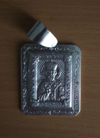 Серебряная ладанка с обликом Святой Николай икона цепочка крестик