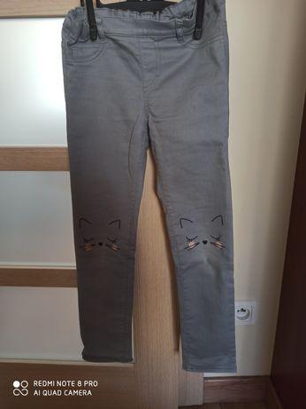 Jeginsy, spodnie h&m, roz. 128