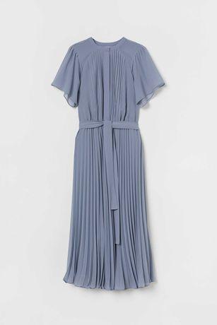 Новое шикарное шифонновое платье плиссе, платье длины миди