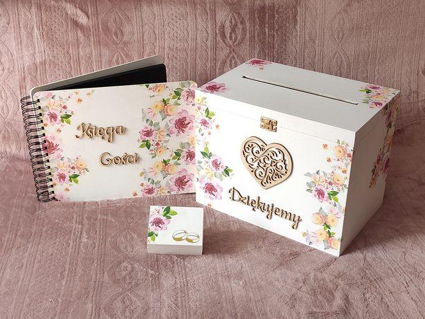 Pudełko na koperty i obrączki, księga gości. Pastelowe kwiaty.
