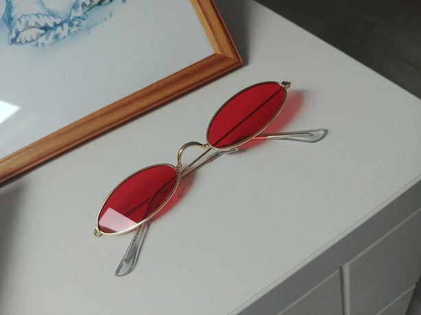 Nowe czerwone okulary przeciwsłoneczne owalne lenonki vintage retro