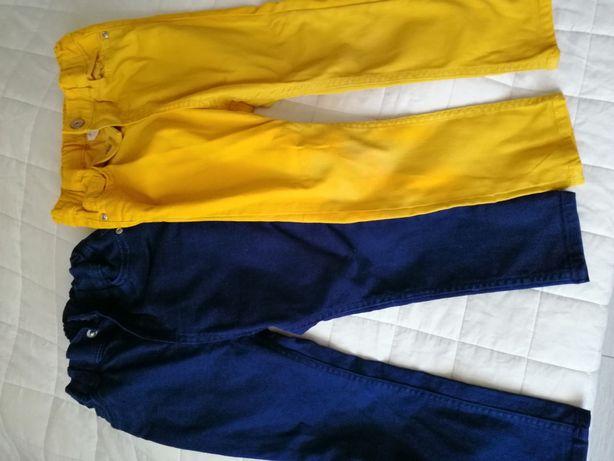 Spodnie H&M musztardowe i granatowe, rozmiar 98,