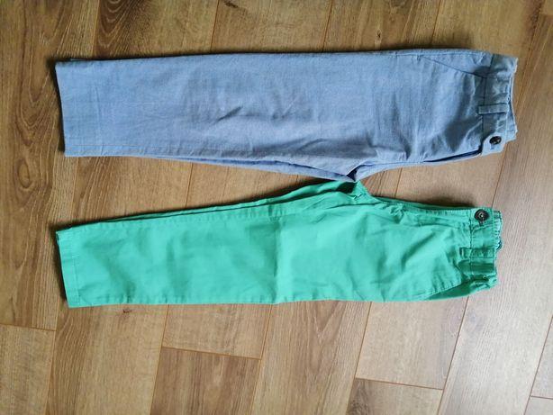Spodnie bawełniane zielone niebieski wizytowe dla chłopcah&m skiny 116