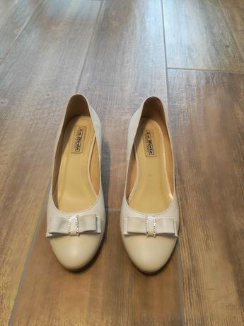 Buty ślubne damskie białe skórzane rozmiar 38