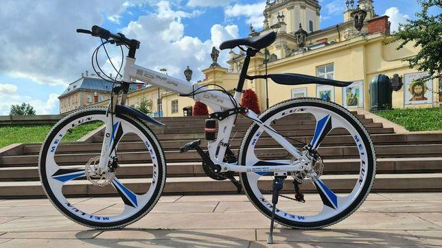 """Горный велосипед BMW BLACK WHITE на литых дисках 26"""" складной N0057"""
