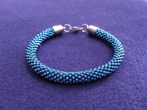 Bransoletka handmade - metaliczny niebieski - szklane koraliki i stal