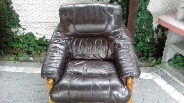 Skorzany wypoczynek 2 os. + fotel