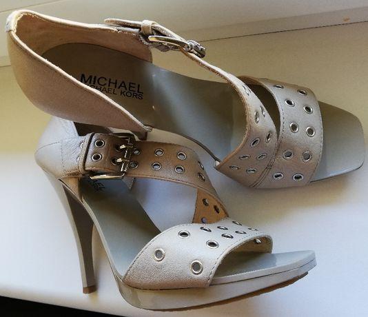skórzane eleganckie sandały szpilki Michael Kors nude 38, 38,5 24,2 cm