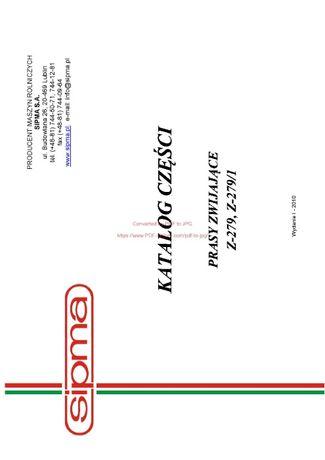 Katalog części Prasa Sipma Z-279, Z-279-1