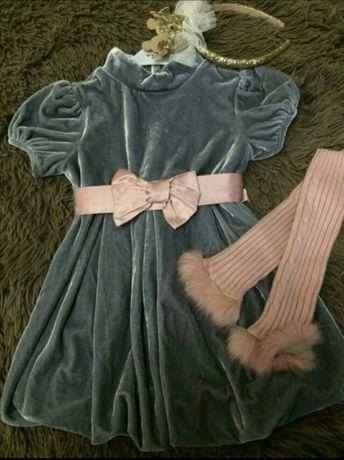 Нарядное тёплое платье с рукавами для девочки, 2-3 года