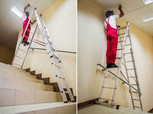 Promocja ! Drabina aluminiowa 3x11 na schody 8,45m 150kg