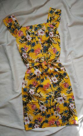 Краственное летнее платье с поясом в цветочный принт