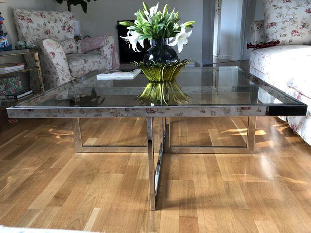Maison Charles designerski duży stolik kawowy 108/108cm lata70 bicolor