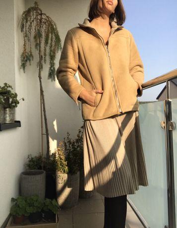 Modny ciepły krótki kożuszek jesienny zimowy vintage S M blogerski