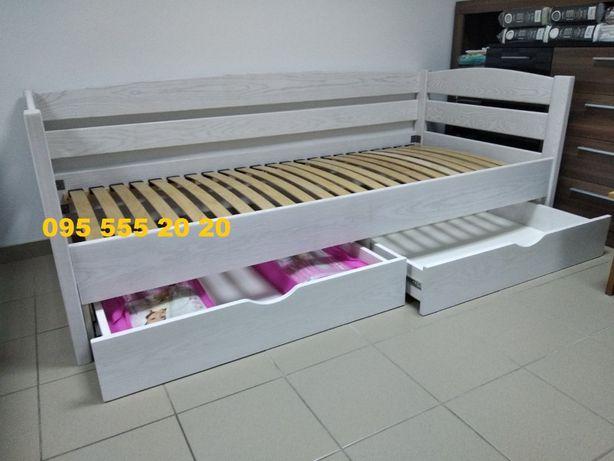 Дитяче ліжко 90х200масив ясена+шухляди на направляючих,вибілений колір