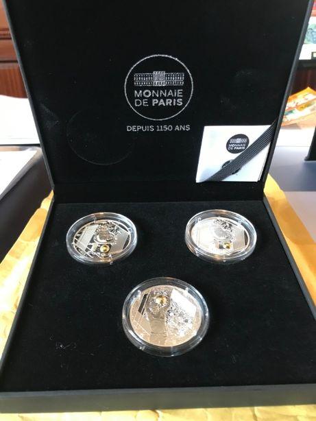 Coleção de 3 Moedas de 10€ em Prata Prof, do EUROPEU de 2016