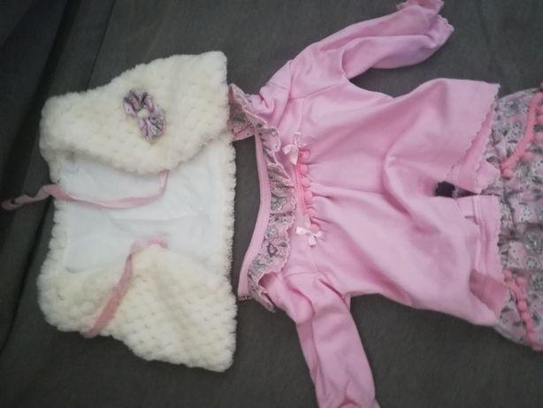 Conjunto calças + camisola + casaco tamanho 0-3 meses