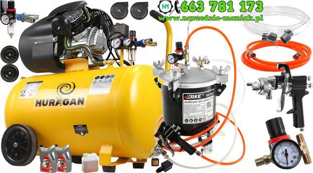 Kompresor Sprężarka 100L V2 Odwadniacz - Agregat Malarski 10L Zestaw