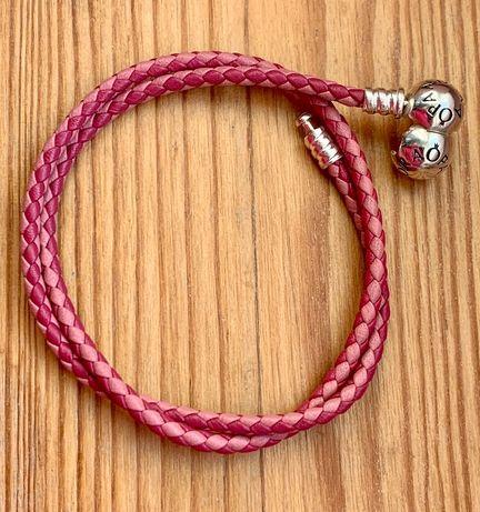 Pandora-nowa, oryginalna ze skóry, dwukolorowa, różowa bransoletka r38