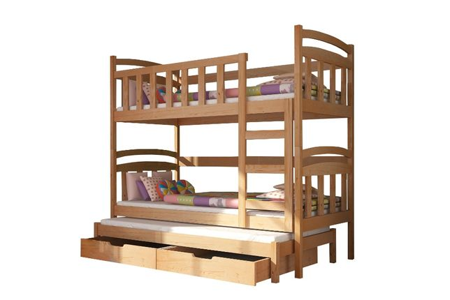 Nowoczesne łóżko piętrowe 3-osobowe DAMIAN z materacami w cenie