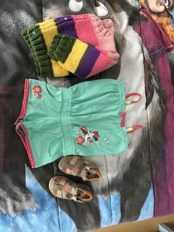 Conjunto casaco,  macacao disney e sandalias 18/24 meses