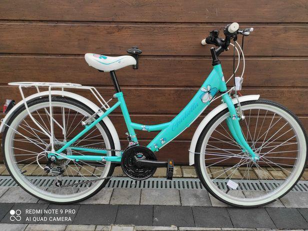 Rower 24'' NOWY dziewczęcy miętowy przerzutki