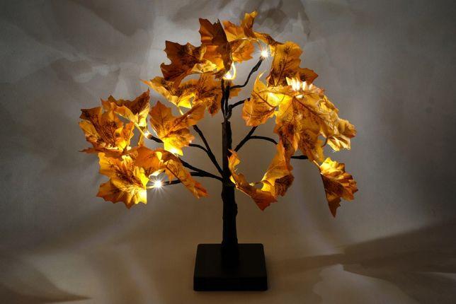 LAMPKA LAMPION jesienne drzewko LIŚCIE OZDOBNE świecące