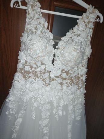 Suknia sukienka ślubna z elementami 3D