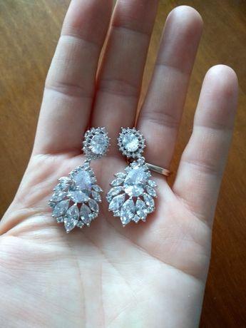 Nowe kolczyki ślub wesele srebrny kryształy bransoletka