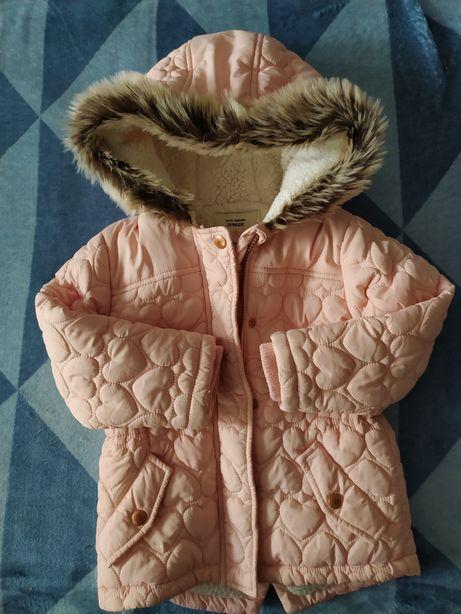 Kurteczka kurtka zimowa serduszka pikowane różowa 98 104