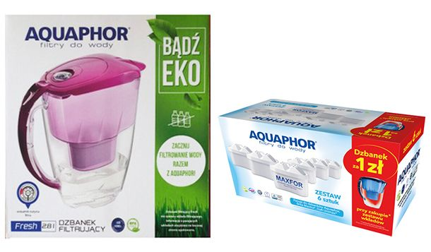 Dzbanek Aquaphore 2,8l + Wkłady filtr.Maxfor 6szt.