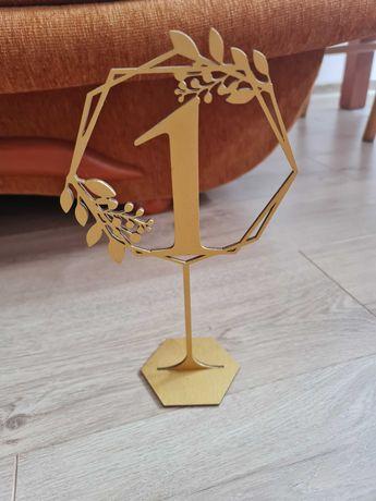 Numery na stół złote od 1 do 7