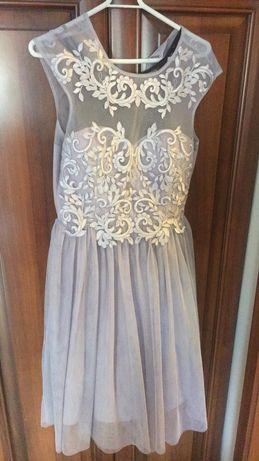 Piękna Sukienka srebrno- szara z tiulem 38 raz ubrana