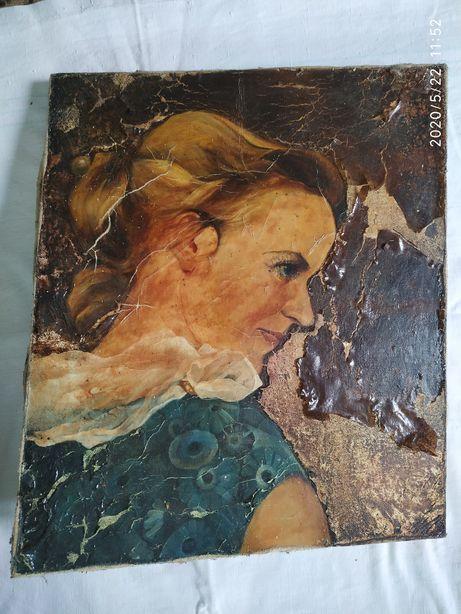 Старинная картина маслом на полотне под реставрацию