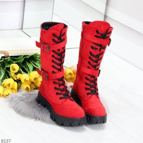 Женские Высокие Красные Ботинки зимние на меху р.38,39,40,41