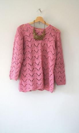 brudny rozowy pudrowy szydelkowy koronkowy sweterek 36S 38M w koronke