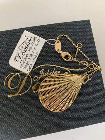 Złoty łańcuszek z duża zawieszką muszla Jubiler Domino