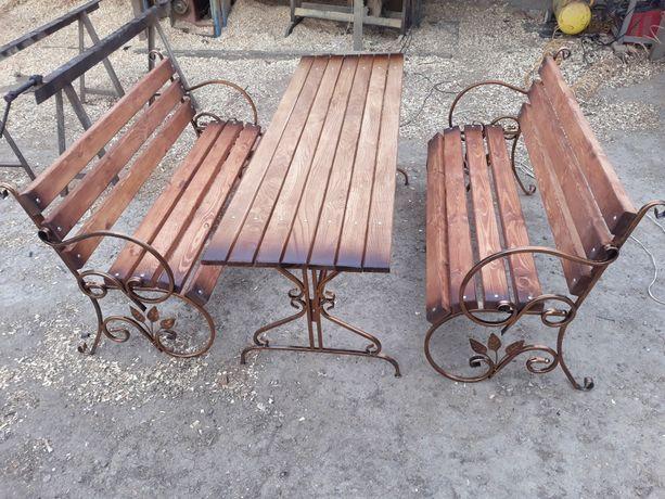 Комплект садовой мебели 2 лавочки +стол/лавочка/стол/боковины.