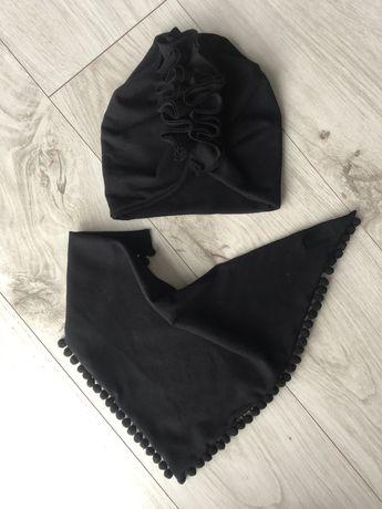 Czapka turban i chusta z pomponikami zapinana na rzep czarny komplet